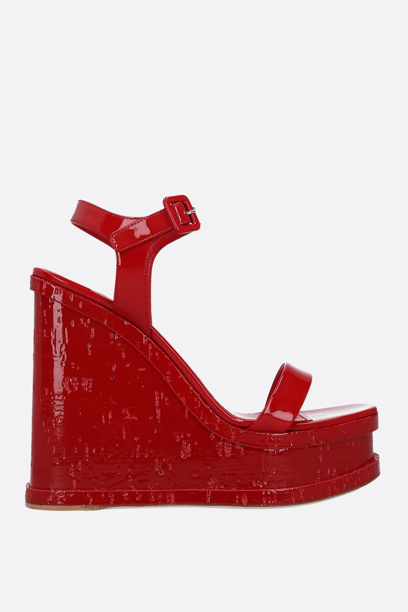 HAUS OF HONEY: Lacquer Doll patent leather wedge sandals Color Red_1