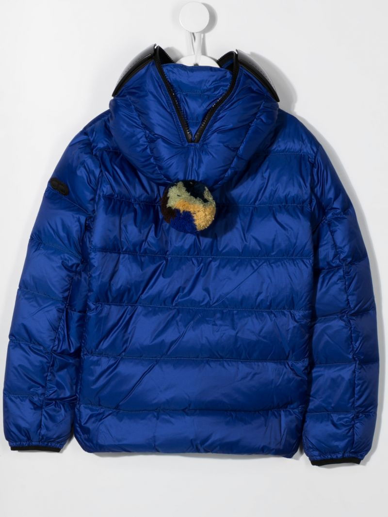 AI RIDERS ON THE STORM KIDS: pom pom-detailed nylon down jacket Color Blue_2