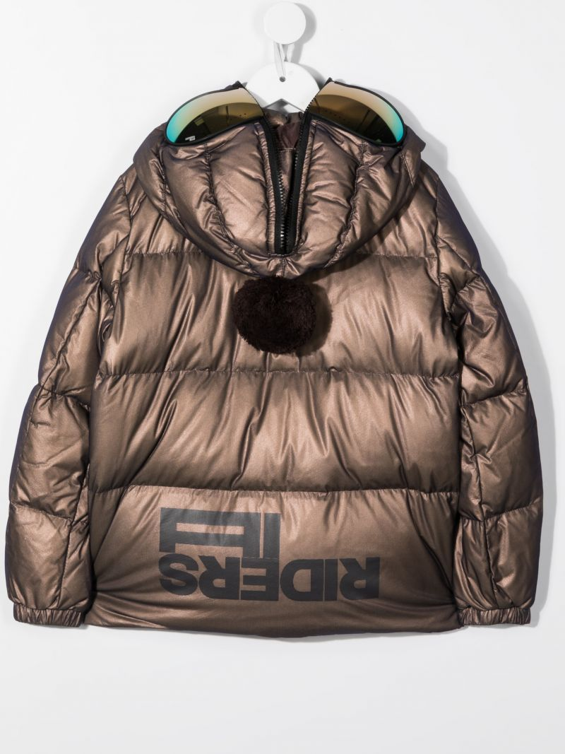 AI RIDERS ON THE STORM KIDS: logo print nylon down jacket Color Brown_2