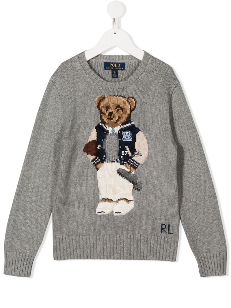 RALPH LAUREN KIDS: Football Bear cotton pullover Color Grey_1