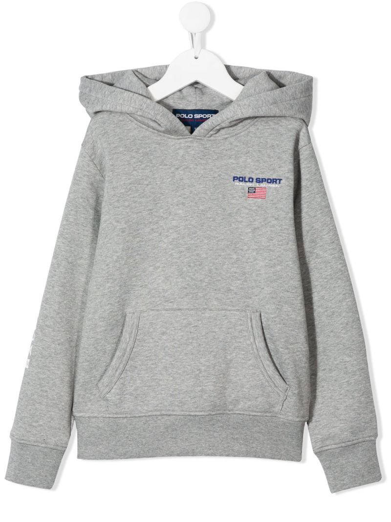 RALPH LAUREN KIDS: Polo Sport cotton blend hoodie Color Grey_1