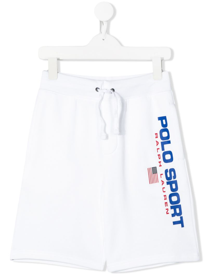 RALPH LAUREN KIDS: Polo Sport jersey shorts Color White_1