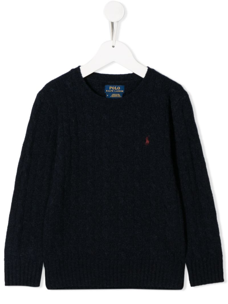 RALPH LAUREN KIDS: Pony embroidered wool cahsmere blend pullover Color Blue_1