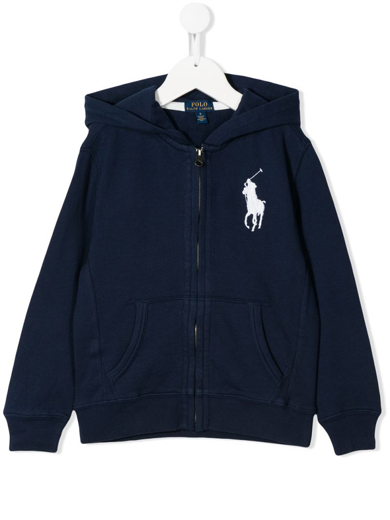 RALPH LAUREN KIDS: Big Pony embroidered cotton full-zip hoodie Color Blue_1