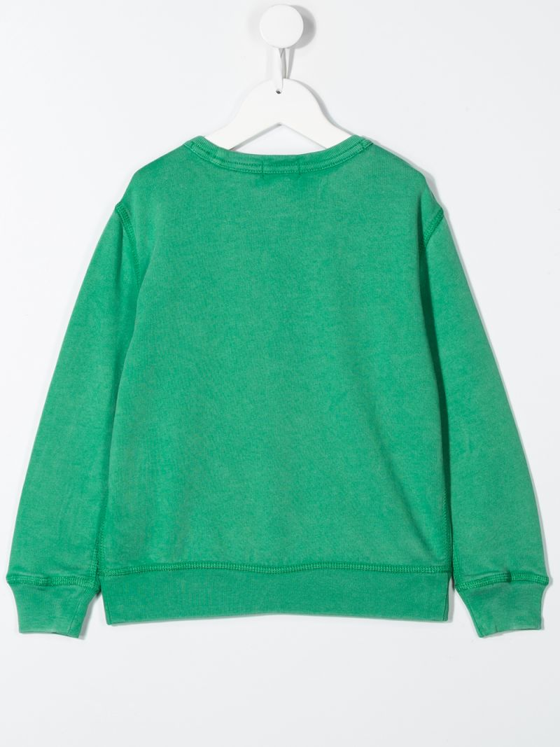 RALPH LAUREN KIDS: Polo Wrestling print cotton sweatshirt Color Green_2
