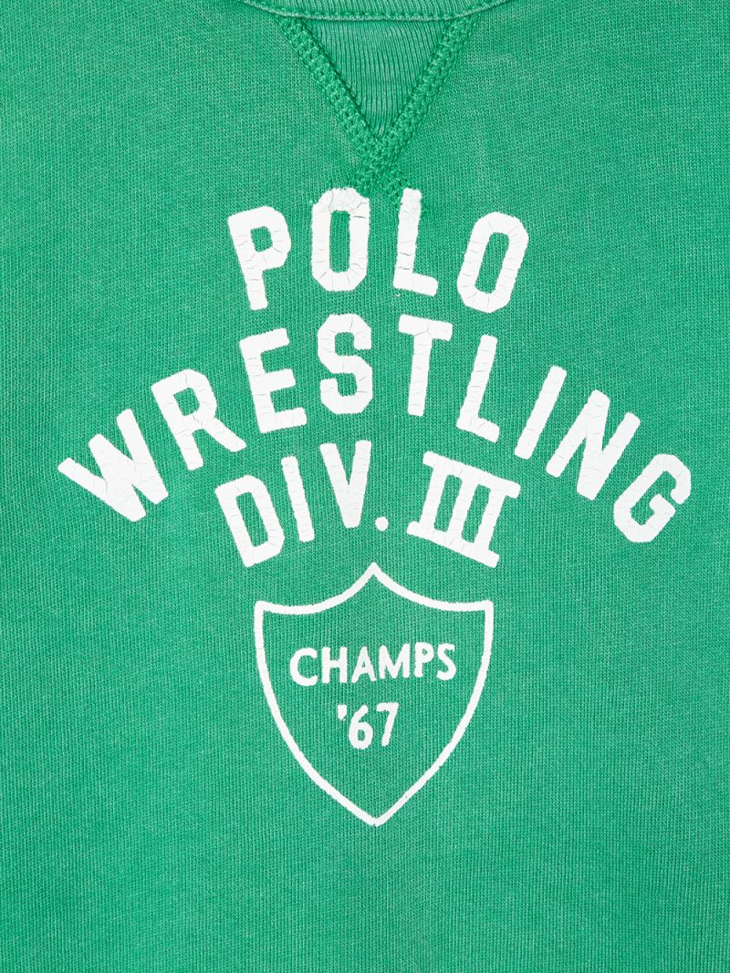 RALPH LAUREN KIDS: Polo Wrestling print cotton sweatshirt Color Green_3