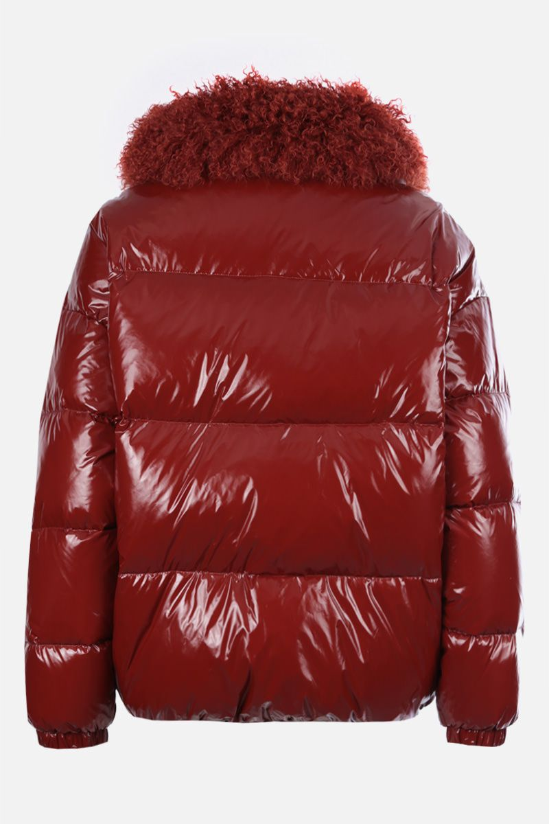 YVES SALOMON: shearling collar-detailed coated nylon down jacket Color Brown_2