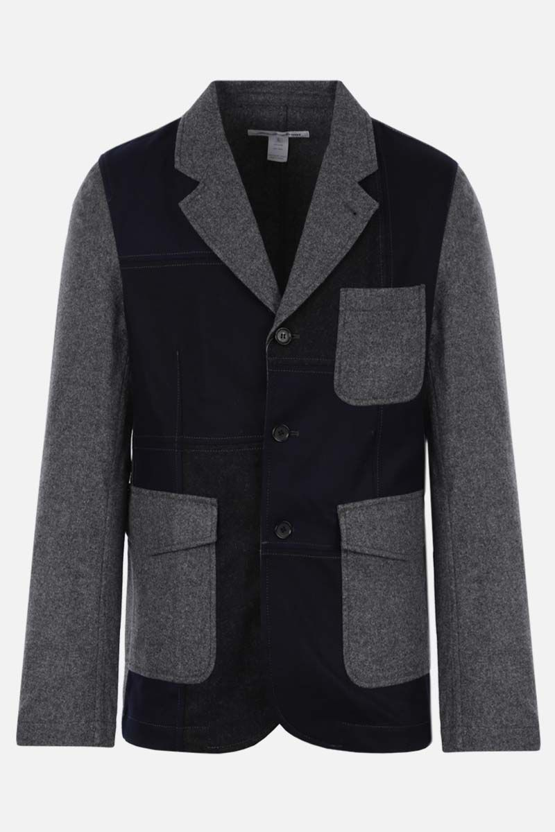 COMME des GARCONS SHIRT: single-breasted colour-block flannel jacket Color Grey_1