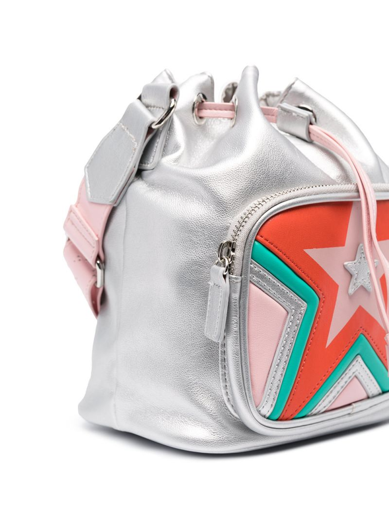 STELLA McCARTNEY KIDS: faux leather bucket bag with drawstring Color Multicolor_2