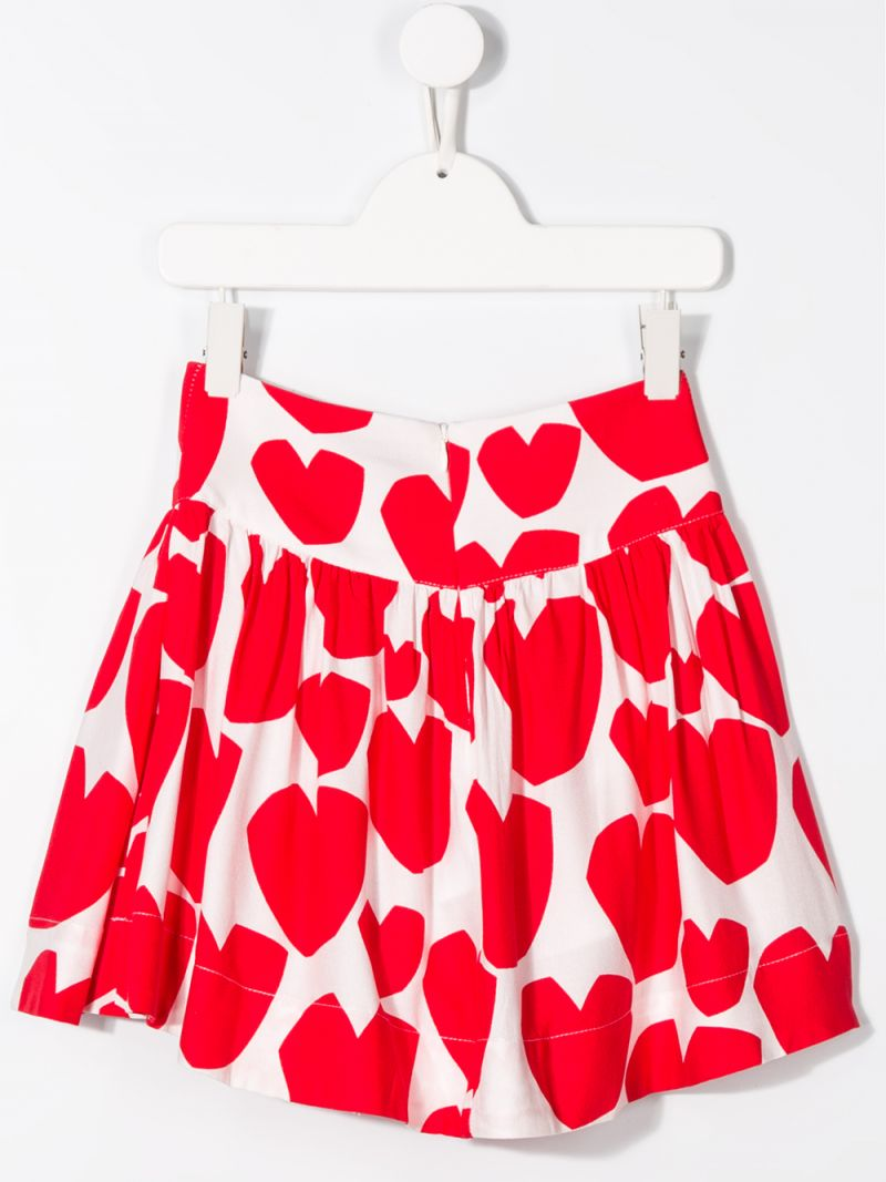 STELLA McCARTNEY KIDS: hearts printed crepe pleated skirt Color White_2