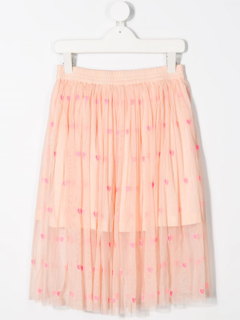 STELLA McCARTNEY KIDS: hearts-embroidered tulle skirt Color Pink_2