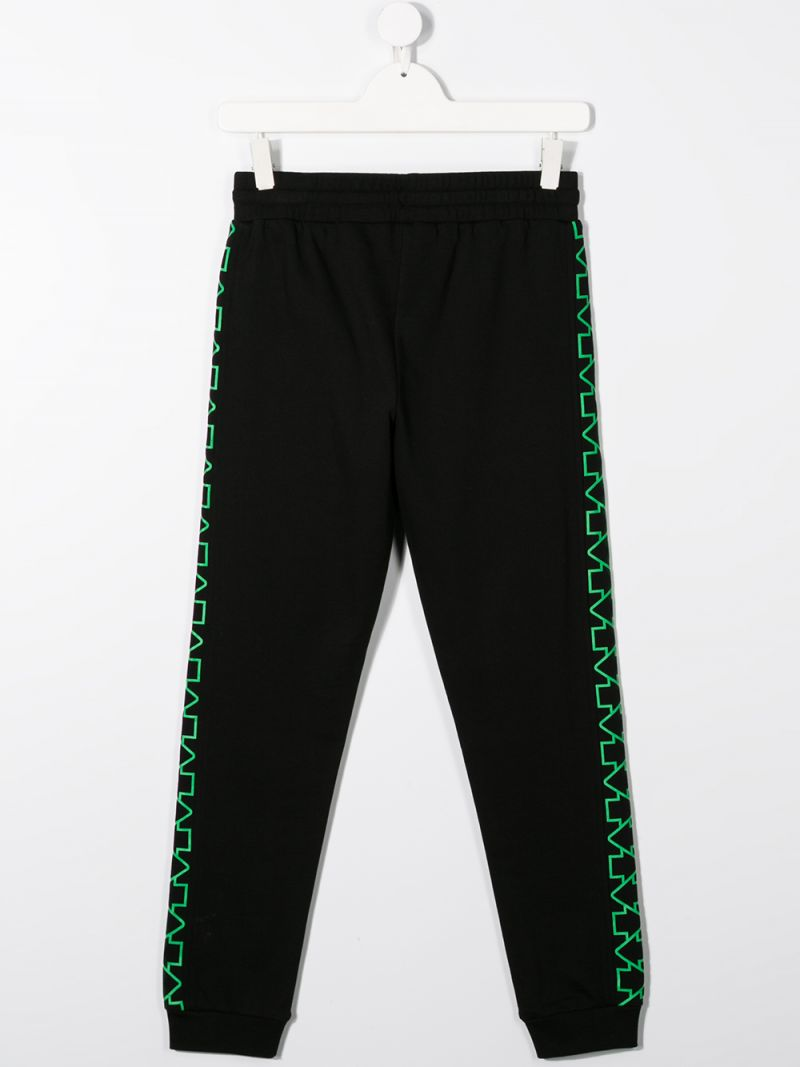 STELLA McCARTNEY KIDS: logo print cotton joggers Color Black_2