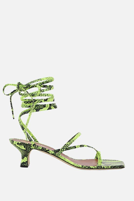 PARIS TEXAS: Betty python-embossed leather lace-up sandals Color Yellow_1