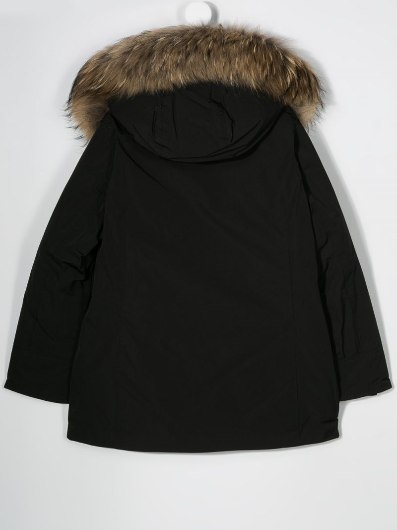WOOLRICH KIDS: technical fabric hooded down jacket Color Black_2