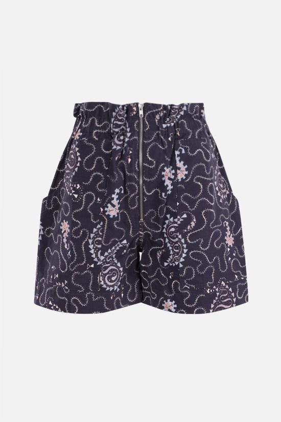ISABEL MARANT ETOILE: Nawel cotton shorts Color Black_1