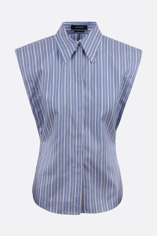 ISABEL MARANT: Enza striped silk sleeveless shirt Color Blue_1