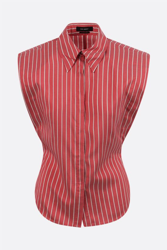 ISABEL MARANT: Enza striped silk sleeveless shirt Color Red_1