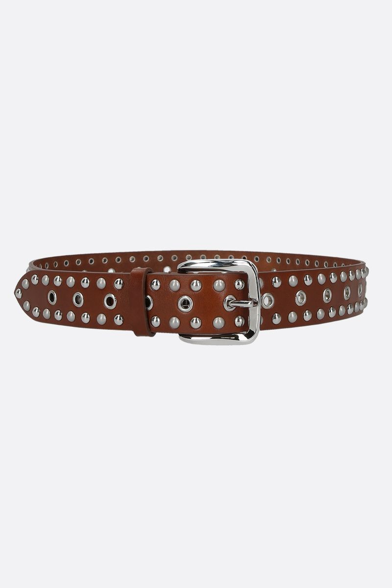 ISABEL MARANT: Rica belt in studded smooth leather Color Brown_1