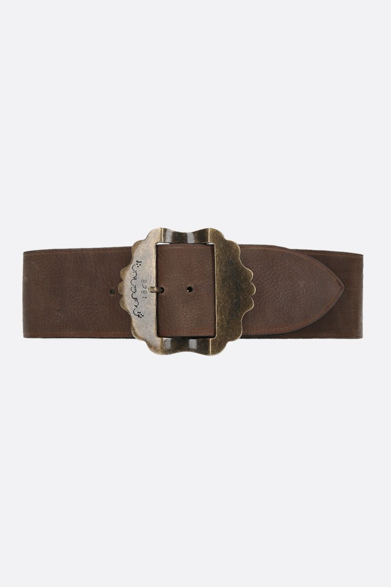 ISABEL MARANT: Awele grainy leather belt Color Brown_1