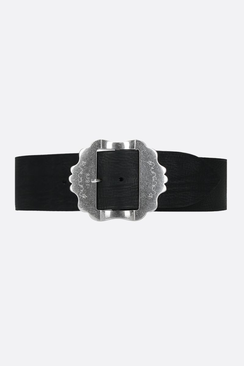 ISABEL MARANT: Awele grainy leather belt Color Black_1
