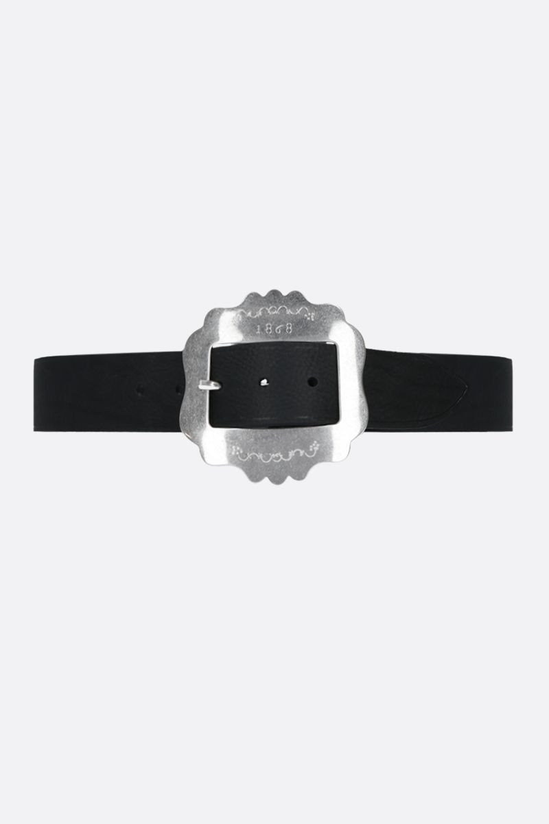 ISABEL MARANT: Lewa grainy leather belt Color Black_1