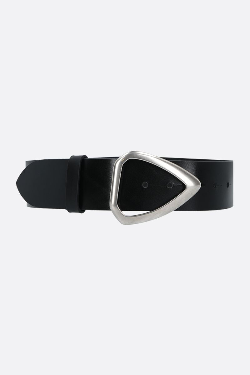 ISABEL MARANT: Idiani shiny leather belt Color Black_1
