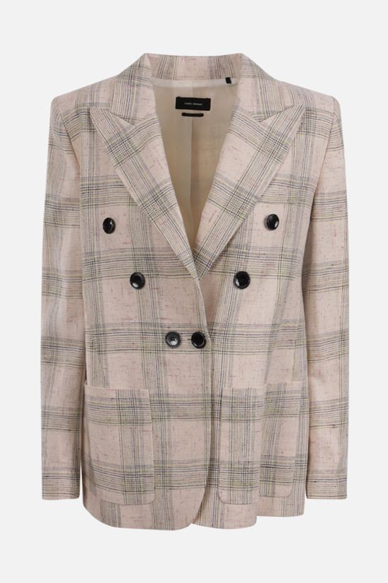 ISABEL MARANT: Leonora double-breasted linen silk blend jacket Color Neutral_1