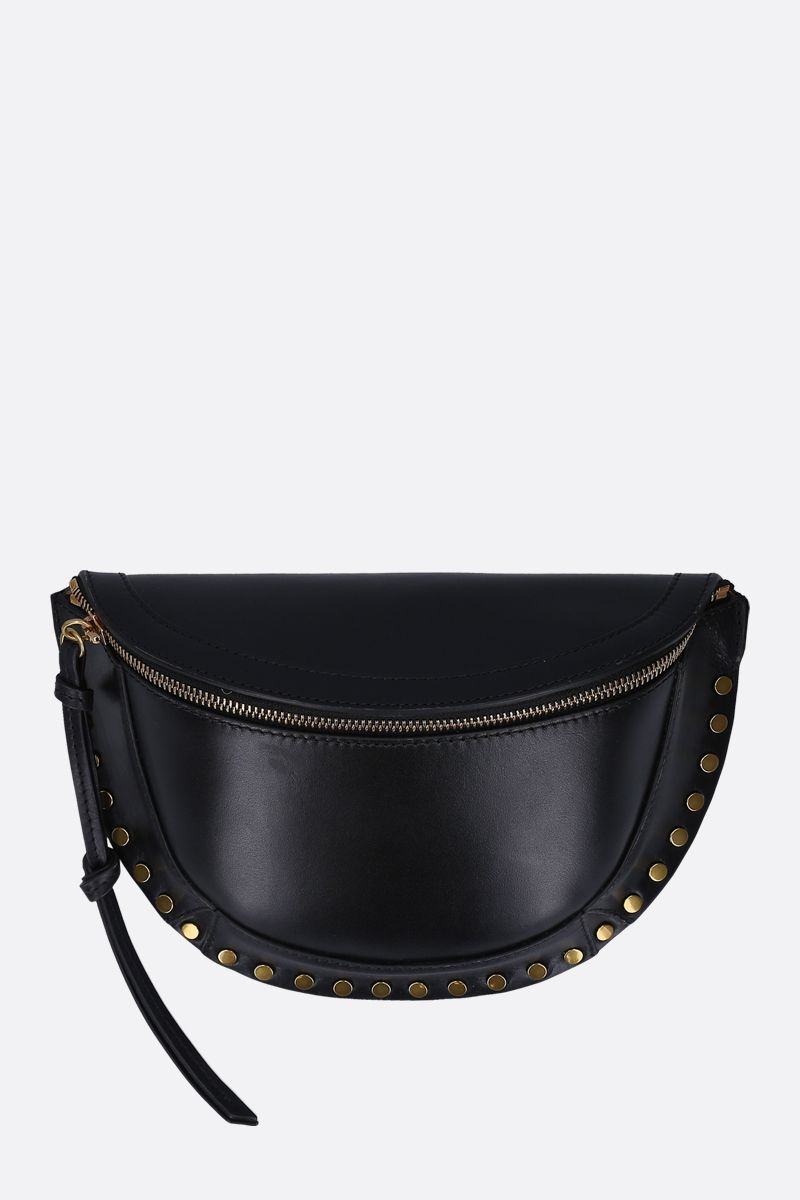 ISABEL MARANT: Skano studded shiny leather belt bag Color Black_1