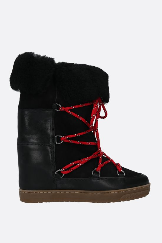 ISABEL MARANT: Nowly smooth leather and shearling snow boots Color Black_1