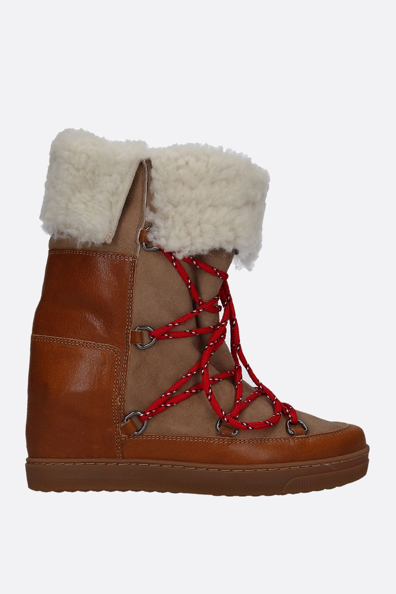 ISABEL MARANT: Nowlsty snow boots in smooth leather and shearling Color Neutral_1