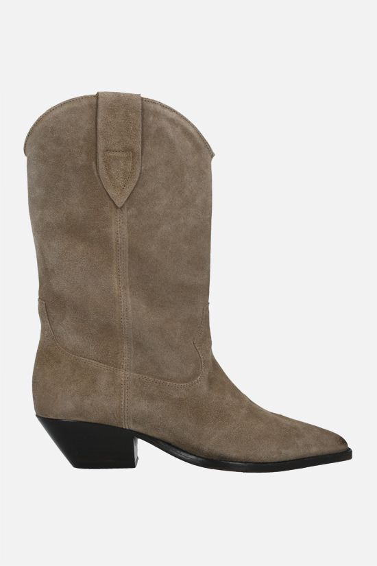 ISABEL MARANT: Duerto velvet suede western boots Color Green_1