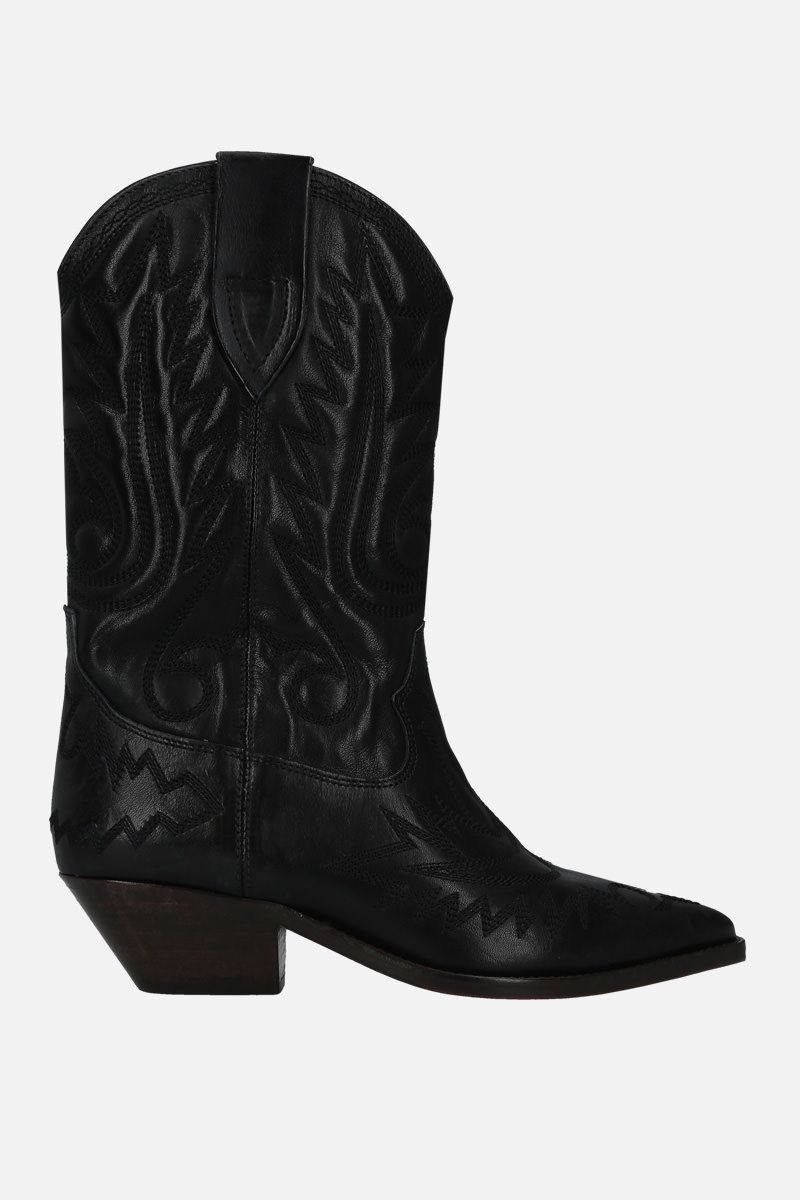 ISABEL MARANT: Duerto western boots in vintage leather Color Black_1