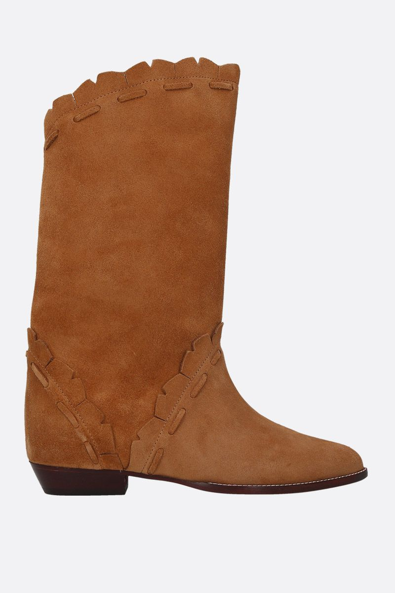 ISABEL MARANT: Sezari velvet suede boots Color Neutral_1