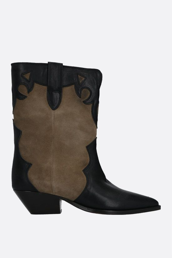 ISABEL MARANT: Duoni smooth leather and suede western boots Color Brown_1