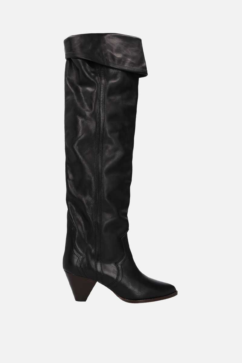 ISABEL MARANT: Remko shiny leather over-the-knee boots Color Black_1