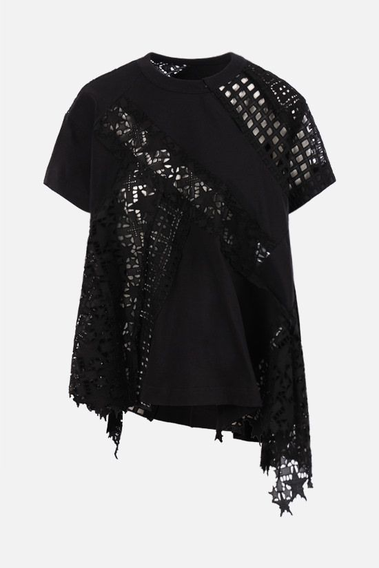 SACAI: lace and jersey t-shirt Color Black_1