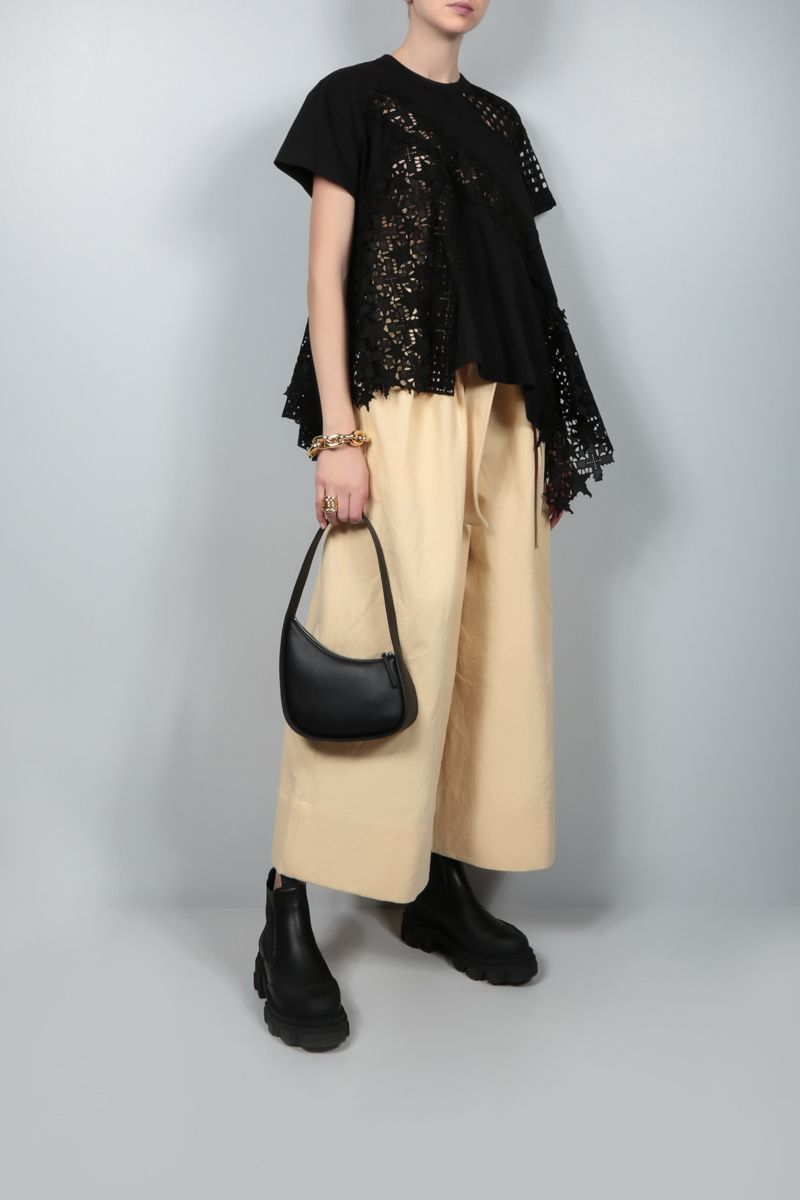 SACAI: lace and jersey t-shirt Color Black_2