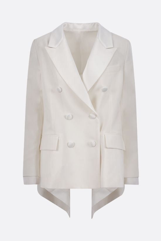 SACAI: double-breasted technical wool and denim jacket Color White_1