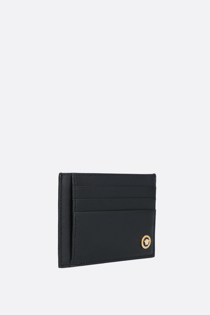 VERSACE: Medusa-detailed smooth leather card case Color Black_2