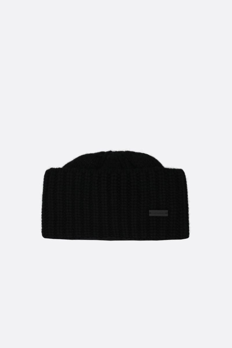 SAINT LAURENT: logo-detailed cashmere beanie Color Black_1