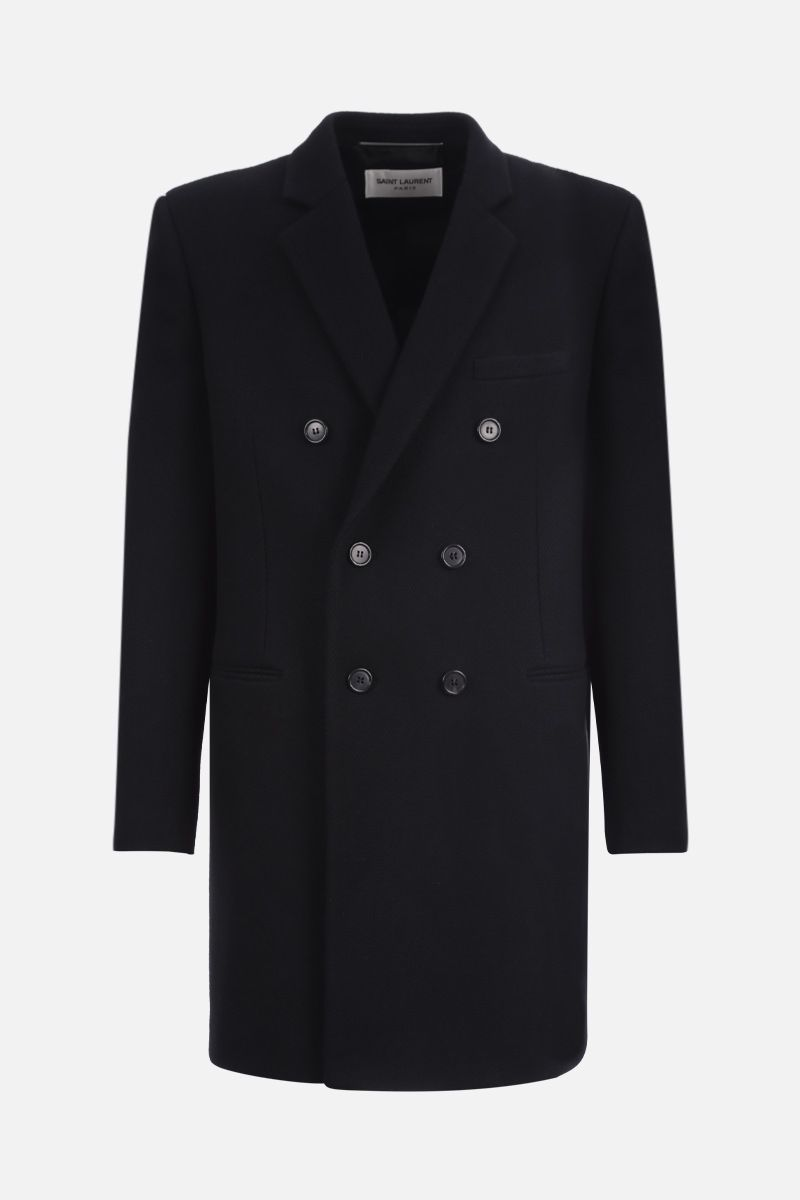 SAINT LAURENT: wool blend double-breasted coat Color Black_1