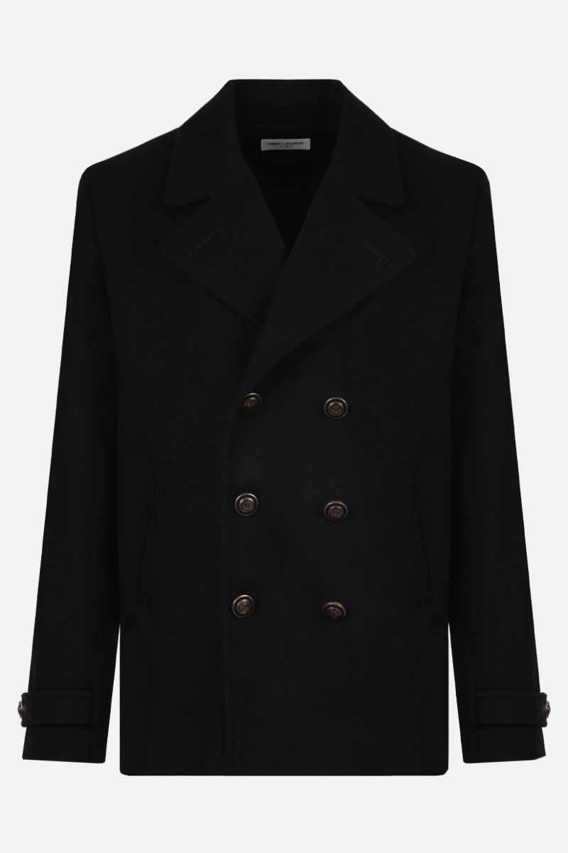 SAINT LAURENT: wool double-breasted coat Color Black_1