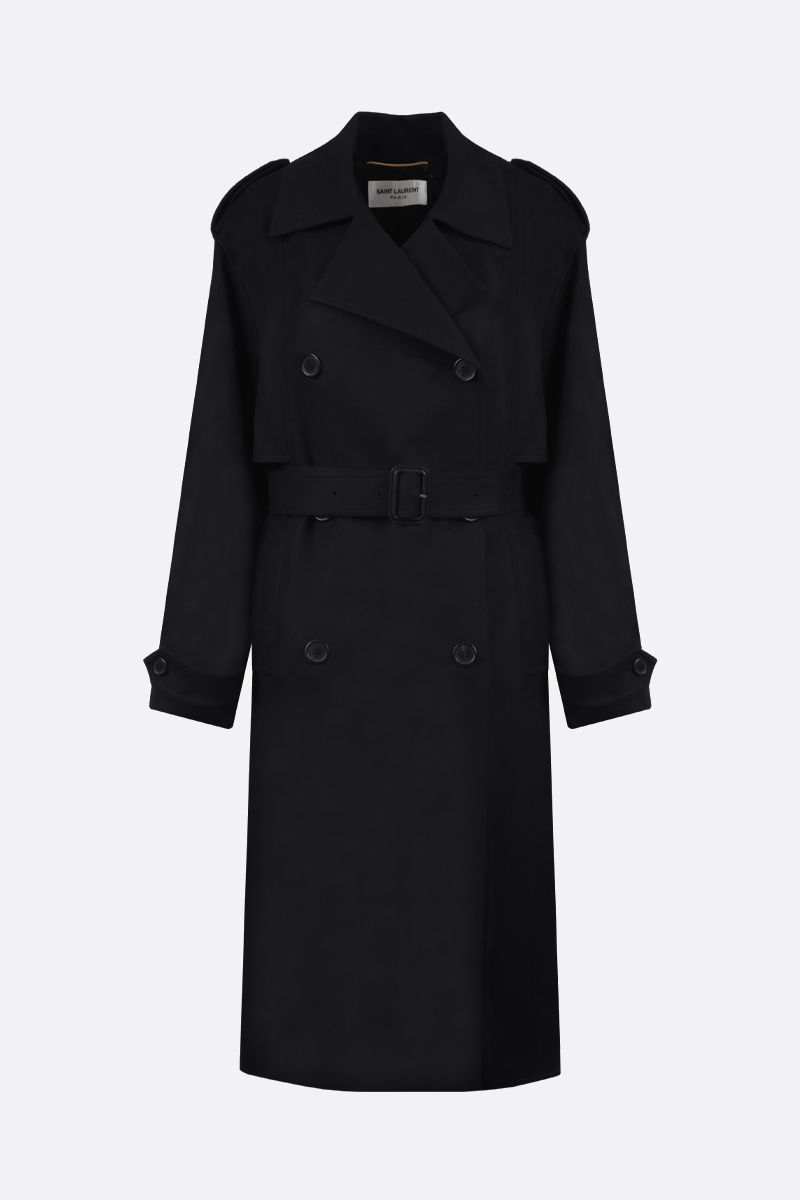 SAINT LAURENT: wool cashmere blend double-breasted coat Color Black_1