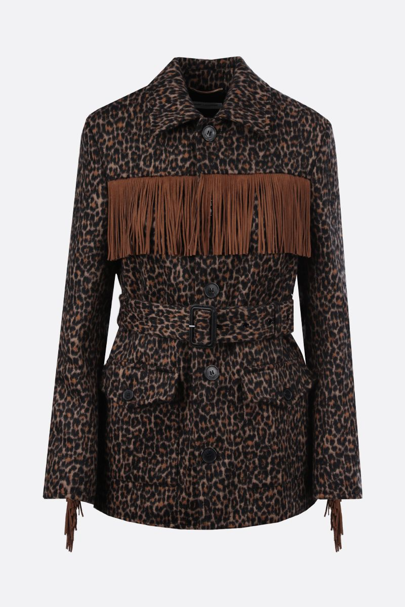 SAINT LAURENT: fringe-detailed wool blend single-breasted coat_1