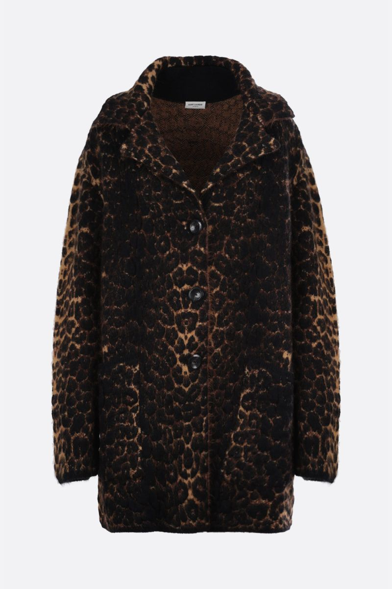 SAINT LAURENT: oversize leopard jacquard single-breasted coat Color Animalier_1