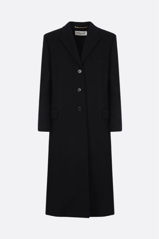 SAINT LAURENT: single-breasted wool coat Color Black_1