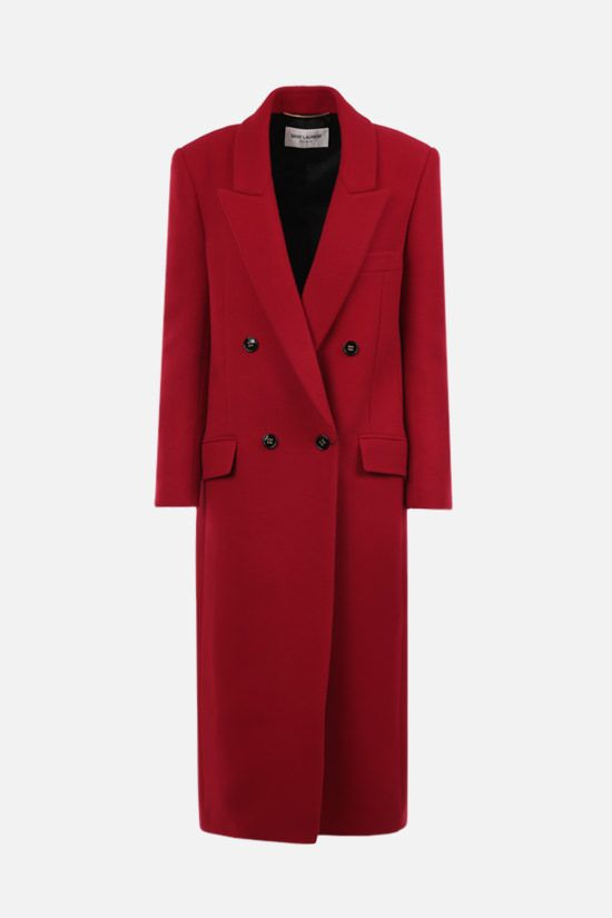 SAINT LAURENT: double-breasted cashmere coat Color Red_1