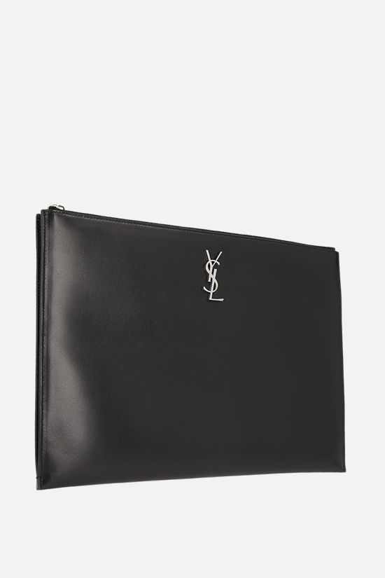 SAINT LAURENT: Monogram pouch in smooth leather Color Black_2