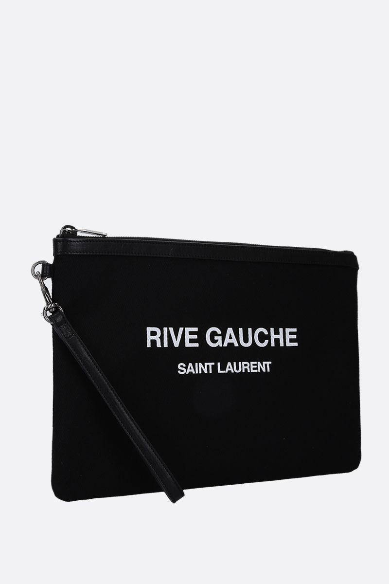 SAINT LAURENT: Rive Gauche canvas pouch Color Black_2