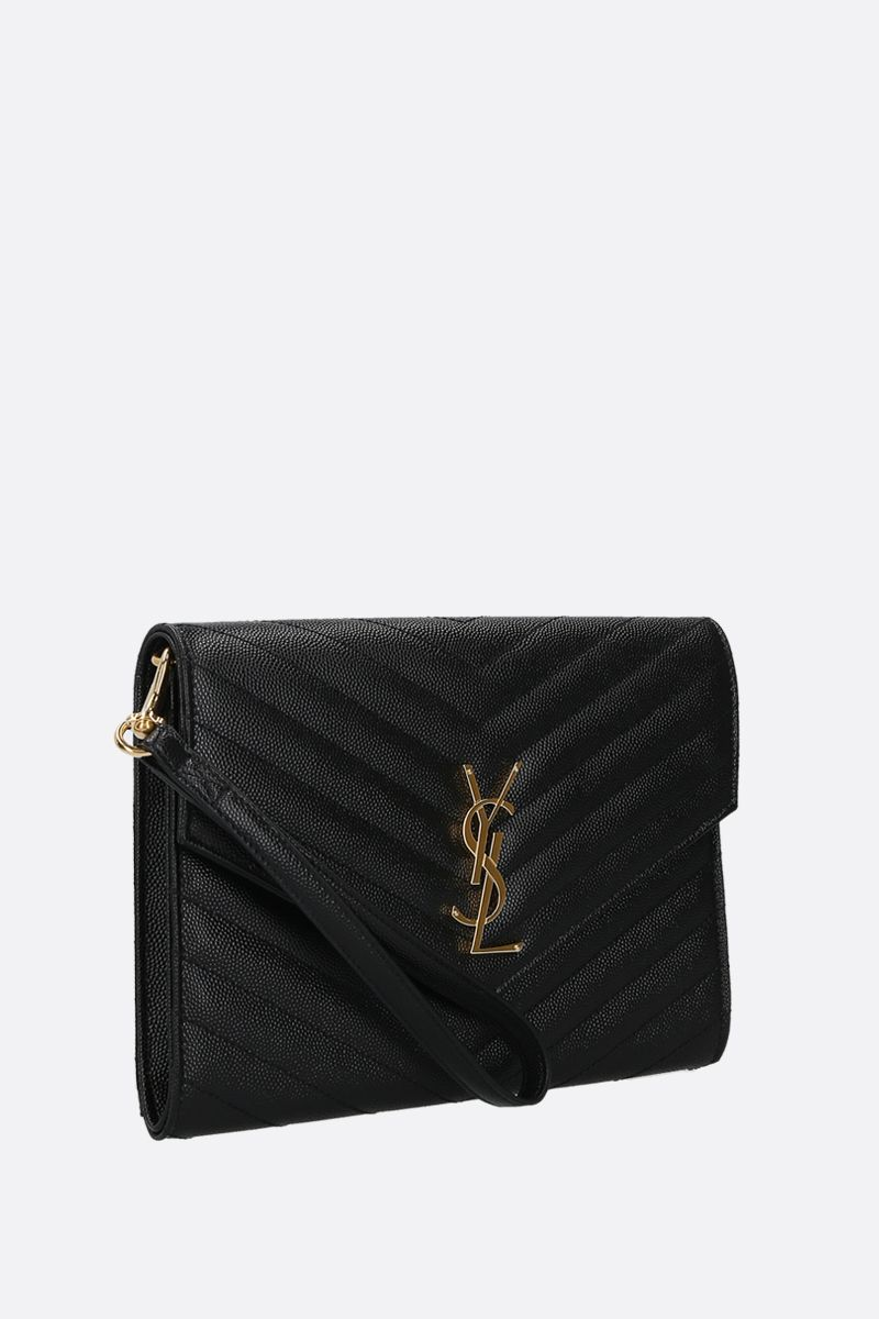 SAINT LAURENT: clutch Monogram in pelle Grain de Poudre Colore Nero_2